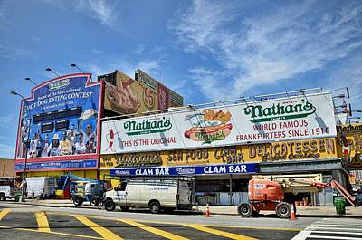 Nathans Famous Frankfurters Photograph - Hot Dogging It To Opening Day by Tony Ambrosio
