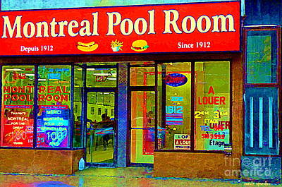 Montreal Memories. Painting - Hot Dogs Et Frites Montreal Pool Room Famous Hot Dog Shrine Urban Eateries Fast Food Scenes Cspandau by Carole Spandau