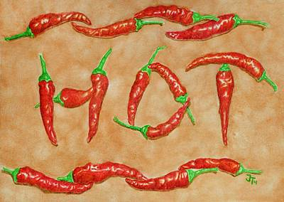 Hot Peppers Art Print by Gerald Tierney