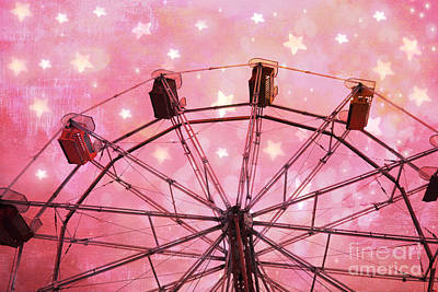 Surreal Pink Carnival Photograph - Hot Pink Ferris Wheel With Stars -  Fantasy Carnival Ride - Pink Ferris Wheel With White Stars  by Kathy Fornal