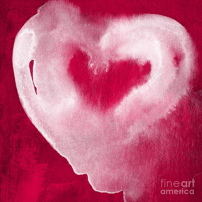 Card Mixed Media - Hot Pink Heart by Linda Woods