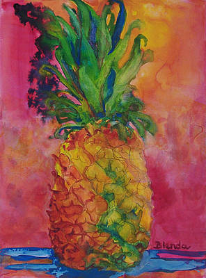 Blendastudio Painting - Hot Pink Pineapple by Blenda Studio