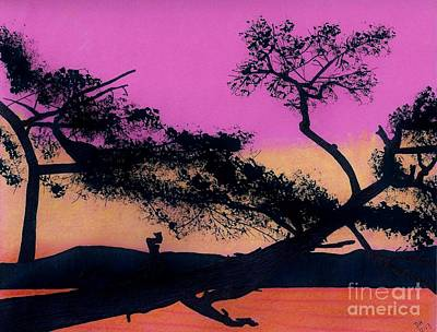 Art Print featuring the drawing Hot Pink Sunset by D Hackett