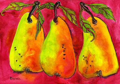 Pear Watercolor Painting - Hot Pink Three Pears by Blenda Studio