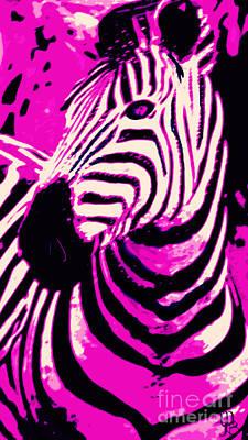 Hot Pink Zebra  Art Print by Mindy Bench
