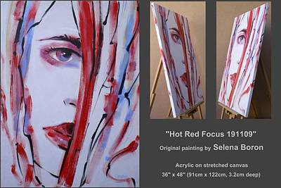 Art Print featuring the painting Hot Red Focus 191109 by Selena Boron