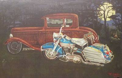 Hot Rod And Harley Art Print by Russell Boothe