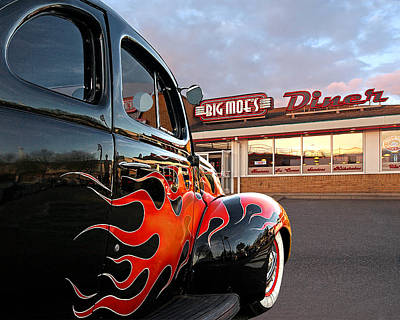 Red Street Rod Photograph - Hot Rod At The Diner At Sunset by Gill Billington