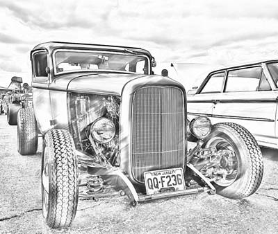 Photograph - Hot Rod Faux Sketch by Jorge Perez - BlueBeardImagery