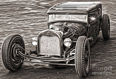 Painting - Hot Rod Ford - Sepia Toned by Gregory Dyer