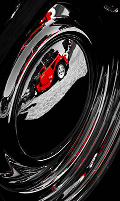 Red Street Rod Photograph - Hot Rod Hubcap by motography aka Phil Clark
