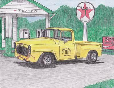 Street Rod Drawing - hot rod International truck by Darrell Leonard