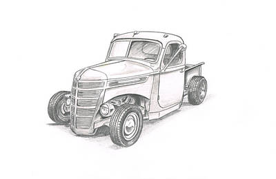 Street Rod Drawing - Hot Rod Truck-046 by Keith Spence