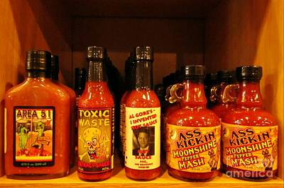 Personalized Name License Plates - Hot Sauce Display Shelf One by John Malone
