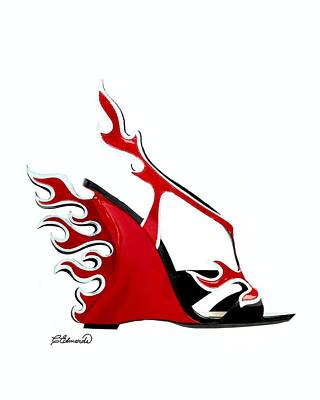 Shoes Digital Art - Hot Shoe by Cindy Edwards