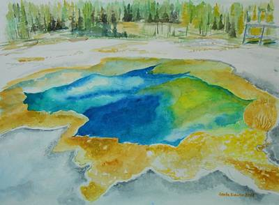 Painting - Hot Springs Yellowstone National Park by Geeta Biswas