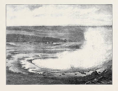 Yellowstone Drawing - Hot Sulphur Spring Near The Yellowstone River Montana North by English School