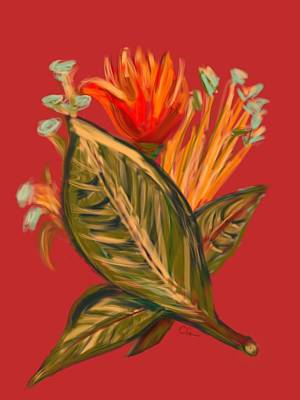 Art Print featuring the digital art Hot Tulip L by Christine Fournier