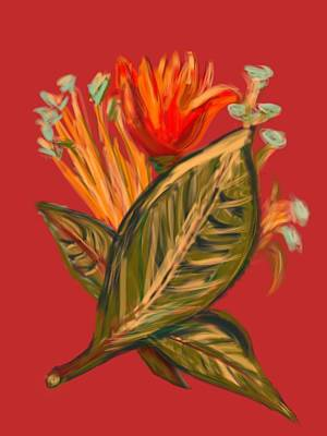 Art Print featuring the digital art Hot Tulip R by Christine Fournier