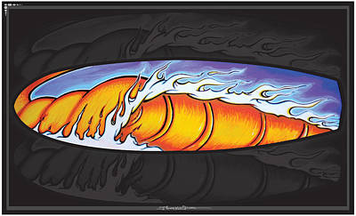 Surfboard Mixed Media - Hot Wave by MarceloSouza TattoosnGraphx