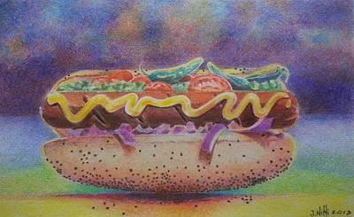 Drawing - Hotdog by NJ Brockman