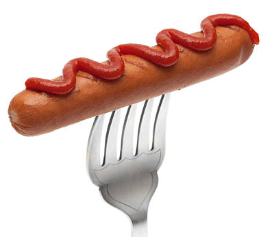 Hot Dogs Photograph - Hotdog Sausage On Fork by Amanda Elwell