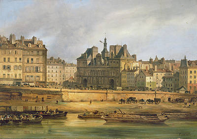 Hotel De Ville And Embankment, Paris, 1828 Oil On Canvas Art Print by Guiseppe Canella