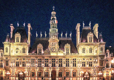 Digital Art - Hotel De Ville Paris by Liz Leyden