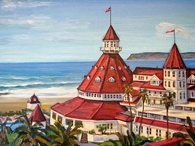 Historic Architecture Painting - Hotel Del Coronado From Above by Robert Gerdes