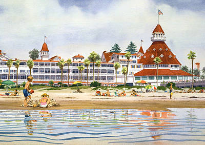 Coronado Painting - Hotel Del Coronado From Ocean by Mary Helmreich