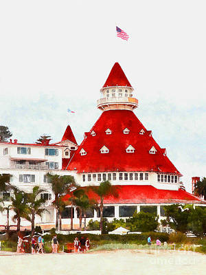 Photograph - Hotel Del Coronado In Coronado California 5d24266wcstyle by Wingsdomain Art and Photography