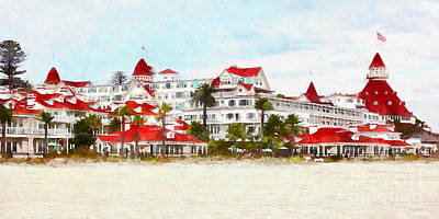 Photograph - Hotel Del Coronado In Coronado California 5d24312wcstyle Long by Wingsdomain Art and Photography