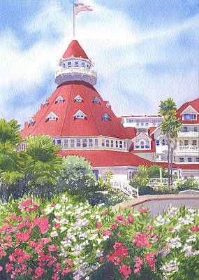 Coronado Painting - Hotel Del Coronado Palm Trees by Mary Helmreich