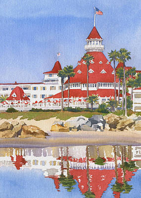 California Wall Art - Painting - Hotel Del Coronado Reflected by Mary Helmreich