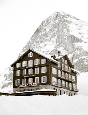 Hotel Des Alpes And Eiger North Face Art Print by Frank Tschakert