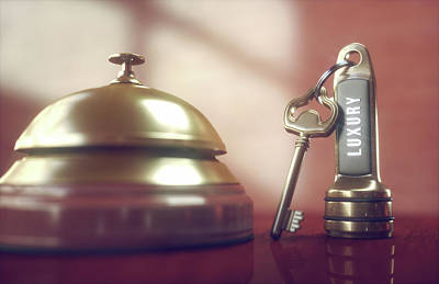 Hotel Key And Bell Art Print by Ktsdesign/science Photo Library