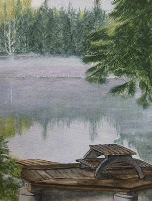 Art Print featuring the painting Hotel Lake Resort In Bc by Kelly Mills