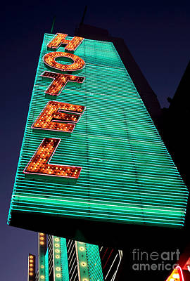Freemont Street Photograph - Hotel Lights by John Rizzuto