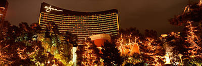 Hotel Lit Up At Night, Wynn Las Vegas Art Print by Panoramic Images