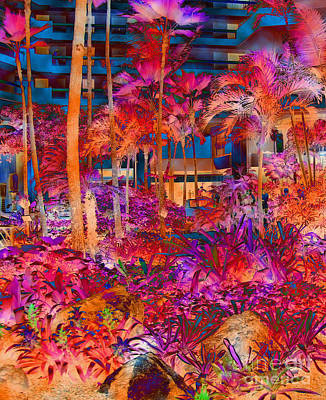 Hotel Lobby In Maui Art Print by Connie Fox