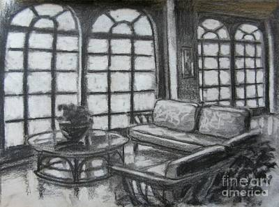 Glass Wall Drawing - Hotel Lobby Interior by John Malone