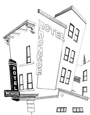 Kansas City Drawing - Hotel Monroe - Full View by Michele Fritz