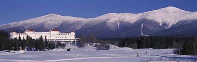 Mount Washington Photograph - Hotel Near Snow Covered Mountains, Mt by Panoramic Images