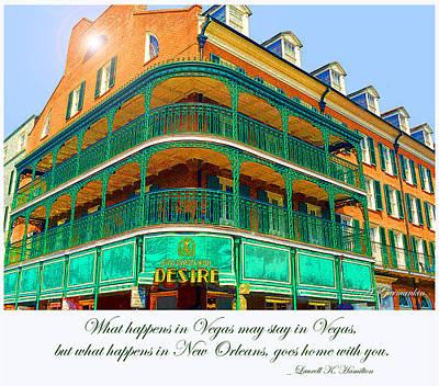 Hotel On Bourbon Street New Orleans Louisiana Art Print