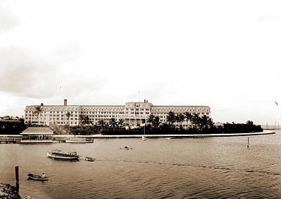 Miami Drawing - Hotel Royal Palm From The Bay, Miami, Fla, Hotels by Litz Collection