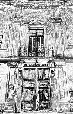 Photograph - Hotel Sevilla Entance Merida Yucatan Mexico Black And White Colored Pencil Digital Art by Shawn O'Brien
