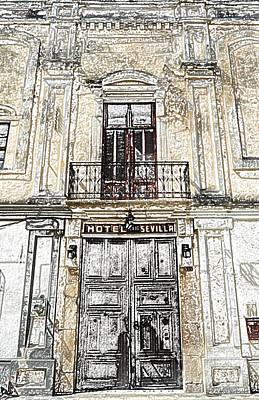 Digital Art - Hotel Sevilla Entance Merida Yucatan Mexico Colored Pencil Digital Art by Shawn O'Brien