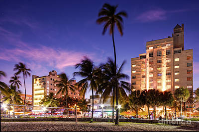 Hotel Victor And The Tides On Ocean Drive - Miami Beach South Beach Art Deco District - Florida Art Print by Silvio Ligutti