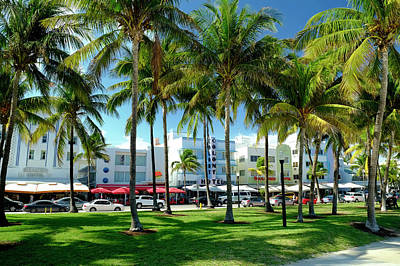 Us State Photograph - Hotels At Ocean Drive, South Beach by Travelpix Ltd