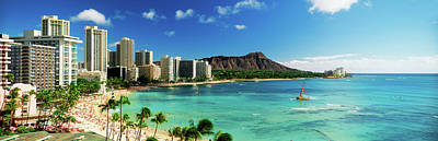 Built Structure Photograph - Hotels On The Beach, Waikiki Beach by Panoramic Images